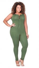Women's Plus Size Sexy Sleeveless Jumpsuit Green