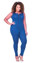 Women's Plus Size Sexy Sleeveless Jumpsuit Blue