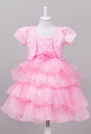 House Little Big Girls' Long Dress or Bolero with Pearls Pink