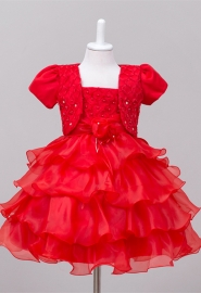 House Little Big Girls' Long Dress or Bolero with Pearls Red