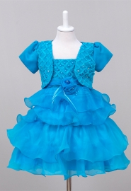House Little Big Girls' Long Dress or Bolero with Pearls Blue