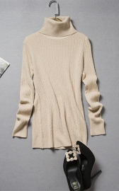 Women's Long Sleeve Turtle Neck Ribbed Thermal Sweater Khaki