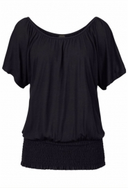 Fashion Women's O-Neck Short-Sleeve Shirt Black