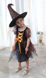 Girls Kids Red Mesh Witch Perform Costumes Halloween Fancy Dress