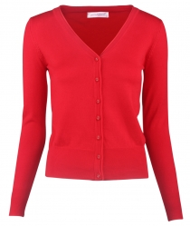Women Button Down Long Sleeve Basic Soft Knit Cardigan Sweater Red