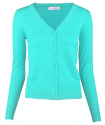 Women Button Down Long Sleeve Basic Soft Knit Cardigan Sweater Blue