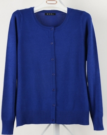 Women Button Down Crew Neck Long Sleeve Soft Knit Cardigan Sweater Dark Blue