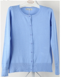 Women Button Down Crew Neck Long Sleeve Soft Knit Cardigan Sweater Blue