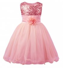 Little Girls' Sequin Mesh Flower Ball Gown Party Dress Tulle Prom Pink