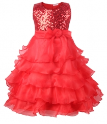 Flower Girl's Dress Sequins Tulle Wedding Pageant Dance Dress Red