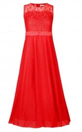 Big Girls Lace Chiffon Bridesmaid Dress Dance Ball Party Maxi Gown Red
