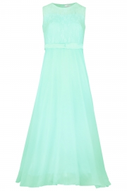 Big Girls Lace Chiffon Bridesmaid Dress Dance Ball Party Maxi Gown Light Green