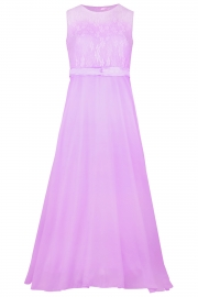 Big Girls Lace Chiffon Bridesmaid Dress Dance Ball Party Maxi Gown Purple