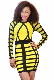 Womens Sexy Long Sleeve Slim Fit Bandage Bodycon Dress Yellow