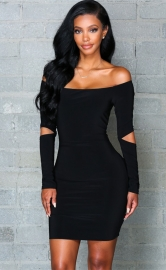 Women's Fashion Stretchy Off Shoulder Slim Bodycon Dress Black