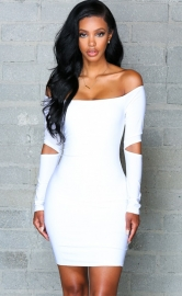 Women's Fashion Stretchy Off Shoulder Slim Bodycon Dress White