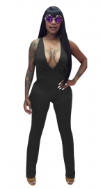 Women's V-Neck Sleeveless Jumpsuit Black