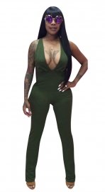 Women's V-Neck Sleeveless Jumpsuit Army Green