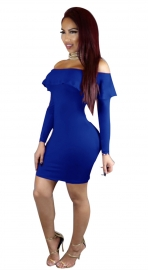 Womens Brief Off Shoulder Casual Ruffles Bodycon Dress Blue