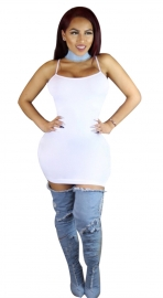 Women's Cami Short Mini Bodycon Slip Bodycon Dress White