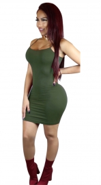 Women's Cami Short Mini Bodycon Slip Bodycon Dress Army Green