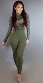 Women Sexy Long Sleeve Rhinestone Embellished Slim Bodycon Jumpsuit Army Green