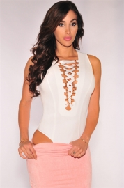 Womens Sexy Lace Up Cap Sleeves Bodysuit Clubwear White(The Skirt and Pants Are Not Included ​)​