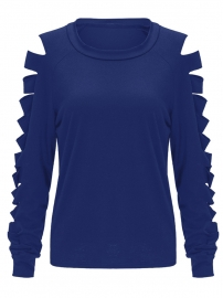 Women's Basic Crew Neck Casual Knit Pullover Blue