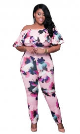 Women's Floral Off Shoulder Jumpsuit Overalls Plus Size Pink