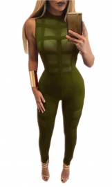 Women's Sleeveless Bodycon Clubwear Jumpsuit Romper Army Green
