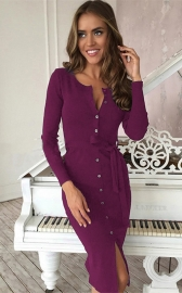 Women Long Sleeve Button Knitted Bodycon Dress Cardigan Sweater Purple
