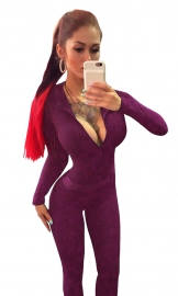 Women Long Sleeve V-Neck Clubwear Bodycon Long Jumpsuit Rompers Purple