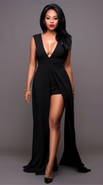 Women's Maxi Dress Overlay Rompers Playsuits Black