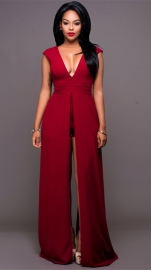Women's Maxi Dress Overlay Rompers Playsuits Red