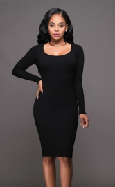 Women's Deep-V Package Hip Bodycon Night Cocktail Midi Dress Black