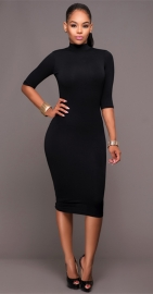 Women Long Sleeve Hollow Out Bodycon Dress Black