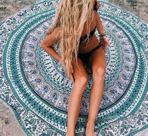 Women Boho Mandala Tapestry Beach Blanket Towel Round Green