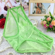 Women Sexy Lace Briefs Panties Thongs Light Green