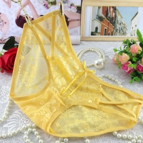 Women Sexy Lace Briefs Panties Thongs Yellow