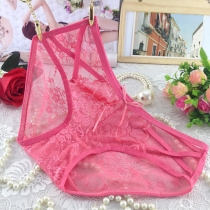 Women Sexy Lace Briefs Panties Thongs Pink