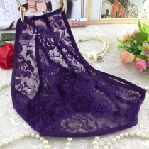 Transparent Lace Underpants for Women Dark Purple