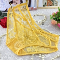 Transparent Lace Underpants for Women Yellow