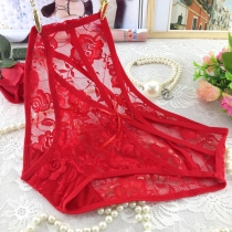 Transparent Lace Underpants for Women Red