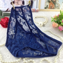 Transparent Lace Underpants for Women Dark Blue