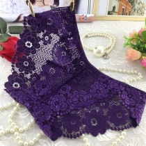 Lace Transparent Underpants for Women Dark Purple