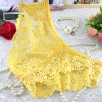 Lace Transparent Underpants for Women Yellow