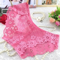 Lace Transparent Underpants for Women Pink