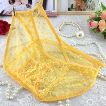 Women Sexy Colorful Lace Transparent Underpants Yellow