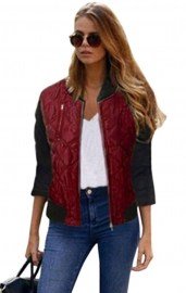 Women Classic Quilted Jacket Short Bomber Jacket Coat Wine Red