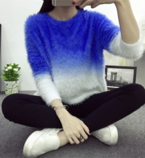 Women's Knit Sweater Crew Neck Gradient Color Loose Pullover Blue